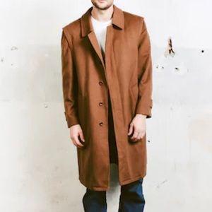 Hugo Boss 80s Long Virgin Wool Brown Coat
